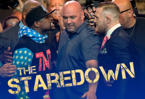 Here's the Mayweather vs McGregor Staredown From Press Conference Day 1 in Los Angeles