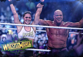 Hustle Photo Book: Ronda Rousey and Kurt Angle Defeat Stephanie McMahon and Triple H at WWE WrestleMania 34
