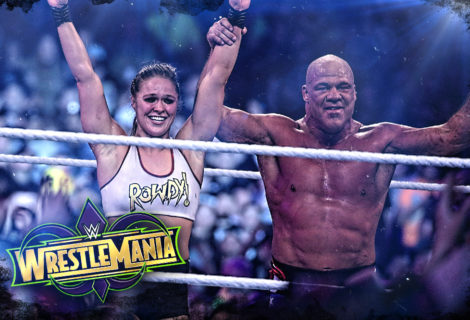 Hustle Photo Book: Ronda Rousey and Kurt Angle Defeat Stephanie McMahon and Triple H at WWE WrestleMania 34